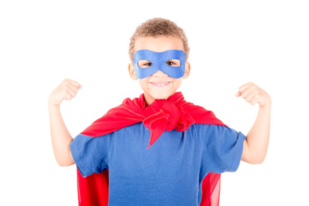 sad person: little boy pretending to be a superhero