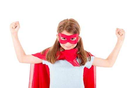 little girl pretending to be a superhero