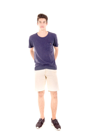 boy shorts: teenage boy isolated in white background