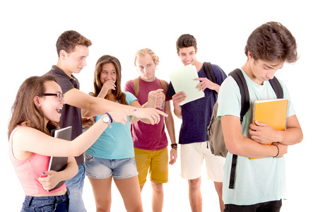 teenagers bullying another isolated in white Stock Photo
