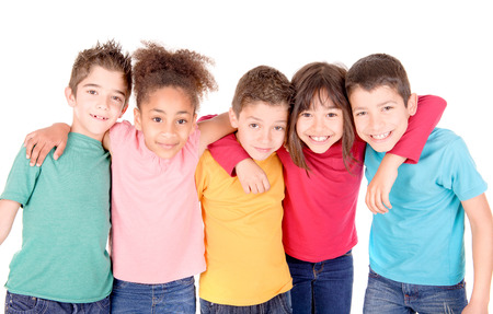curly hair child: group of kids isolated in white Stock Photo