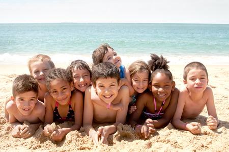 boardshorts: little kids at the beach Stock Photo