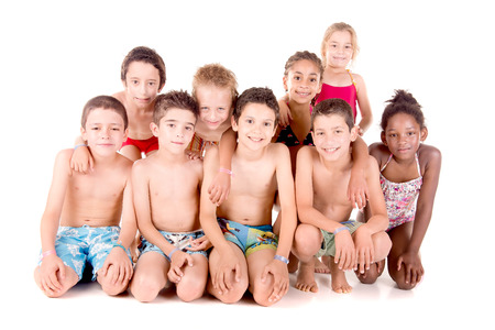 board shorts: little kids with beach clothes isolated in white background Stock Photo