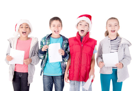 little kids with christmas hat isolated in white Stock Photo