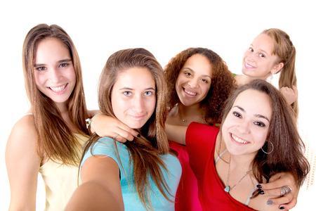 Groupe d'adolescentes isolé dans un fond blanc Banque d'images - 50115774