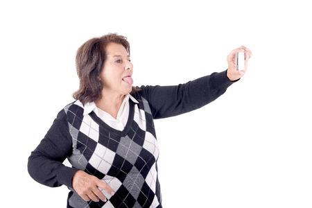 senior beautiful woman talking a selfie