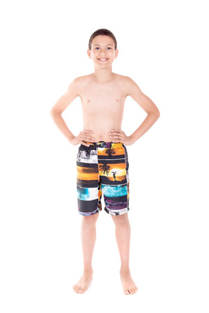 boardshorts: boy with beach shorts isolated in white Stock Photo