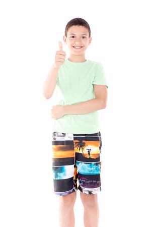 boardshorts: little boy isolated in white Stock Photo