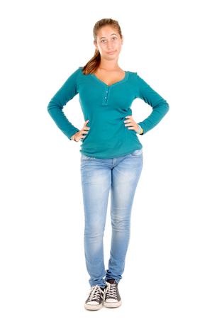 teenage girl isolated in white photo