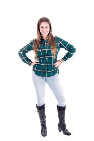 teenage girl posing isolated in white photo