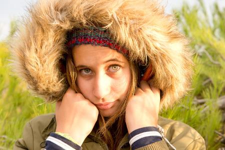 beautiful teenage girl in the woods photo