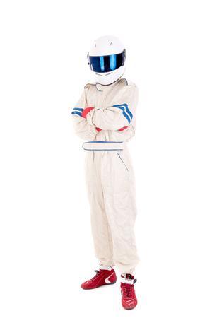 casque: race car driver isolated in white background