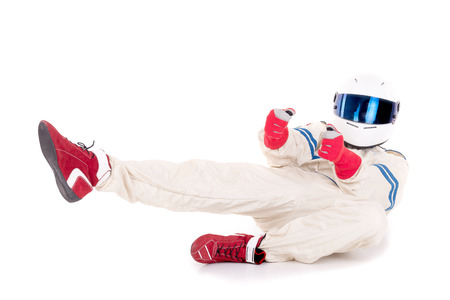 race car driver: race car driver isolated in white background