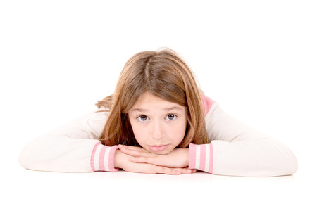 little girl isolated in white background photo