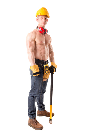 vest in isolated: handsome construction worker posing isolated in white Stock Photo