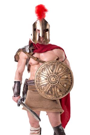gladiator posing isolated in white Stock Photo - 81103253