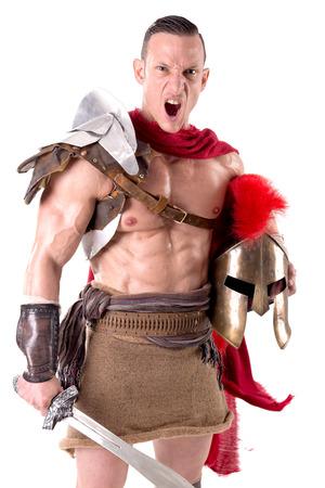 gladiator posing isolated in white Stock Photo