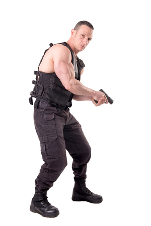 tactical law enforcer posing isolated in white