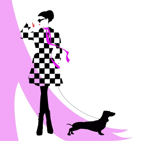 naked silhouette: fashion girl with a dog