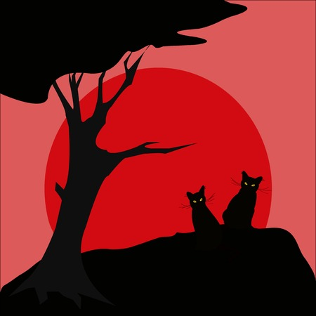 Black cat silhouette and sun Vector