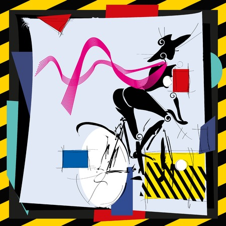 60s adult: fashion girl by bicycle cubism modern