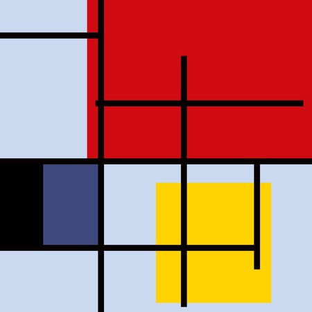 piet: Geometric suprematism pattern in style neo-plasticism abstract art Illustration