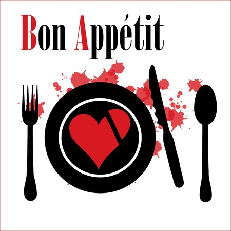 Heart on a plate. Pleasant appetite. Illustration
