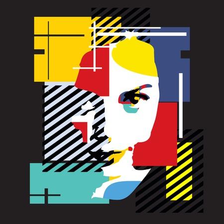 Fashion girl. Modern illustration. Cubism