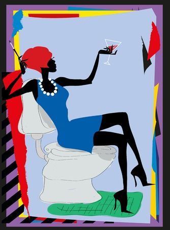 the modern girl sits in a toilet with a glass of wine and a cigarette Vector