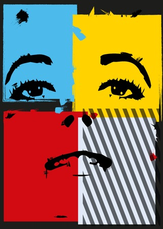 painting face: Girl in style a pop-art.