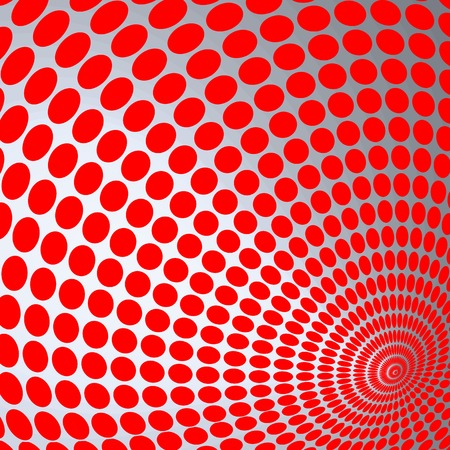 Optical Illusion Illustration, red circles on a gray background