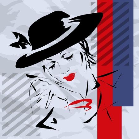 La femme dans un style rétro sur un fond blanc, bandes bleues et rouges, d'un air pensif