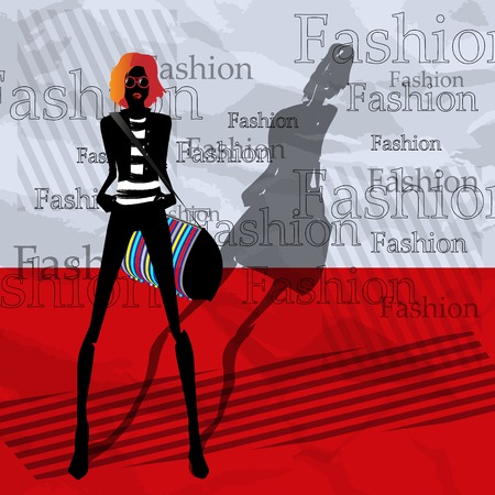 showgirls: The fashionable girl with a bag on a red background Illustration
