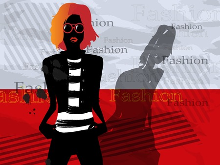 The fashionable girl with a bag on a red background Illustration
