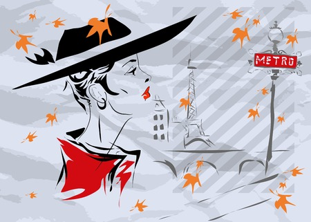 showgirls: The fashionable girl in Paris, fall in Paris Illustration