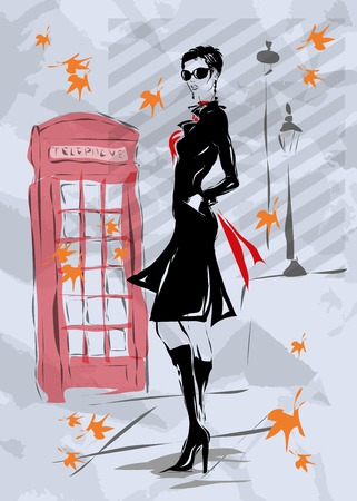 The modern woman in a black coat, fall, London Illustration
