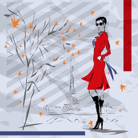 mujer con maleta: La chica en un abrigo rojo, caída, Paris