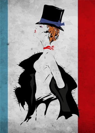 The girl in style of cabaret takes off a fur coat Vector