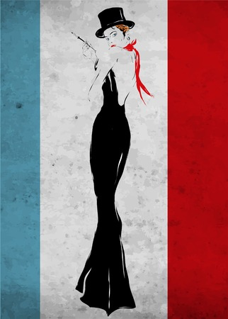 The girl in a black evening dress smokes a cigarette Illustration