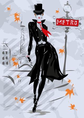 autumn woman: The fashionable woman goes down the street, fall, autumn, Paris Illustration