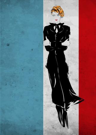 mode retro: Retro mode vrouw in een zwart pak, de vlag van Frankrijk, schets Stock Illustratie