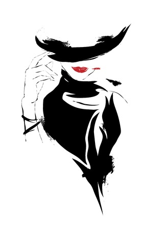 fall fashion: Modern girl, sketch, red lips, white background, hat