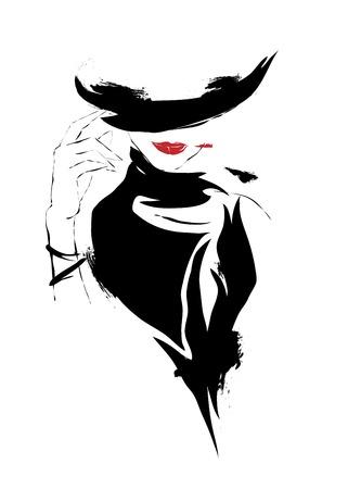 bocetos de personas: Muchacha moderna, bosquejo, labios rojos, fondo blanco, sombrero
