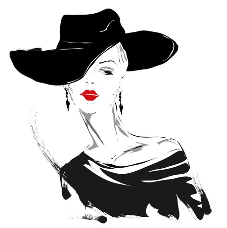 Modern girl, sketch, red lips, white background, fashionable hairstyle, hat