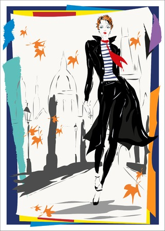 60s fashion: The fashionable woman goes down the street, fall, the autumn, Prague Illustration