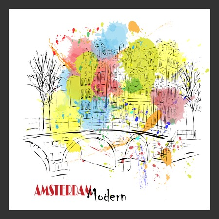 dutch typical: European capital, sketch, Amsterdam modernist style, background, colors Illustration