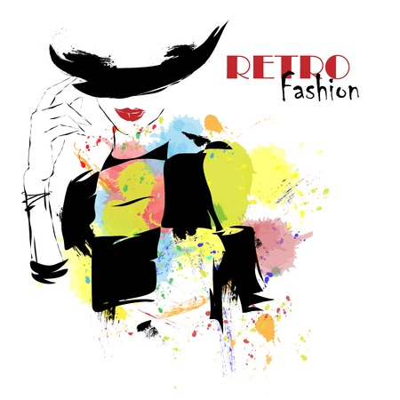 moda ropa: Chica de moda en el estilo de dibujo. Ilustración del vector.