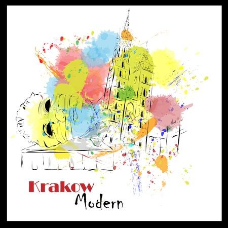 european cities: European cities, sketch, Krakow,  modernist style, background, colors