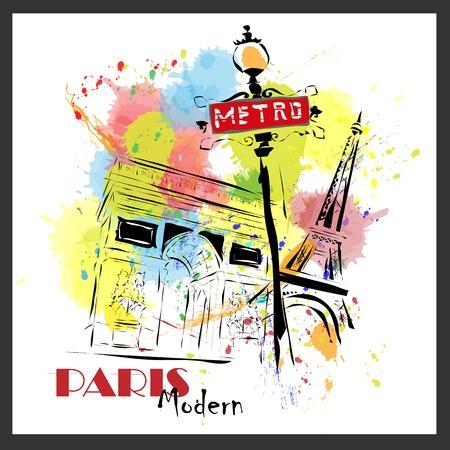 modernist: European capital, sketch,  modernist style, background, colors, Paris
