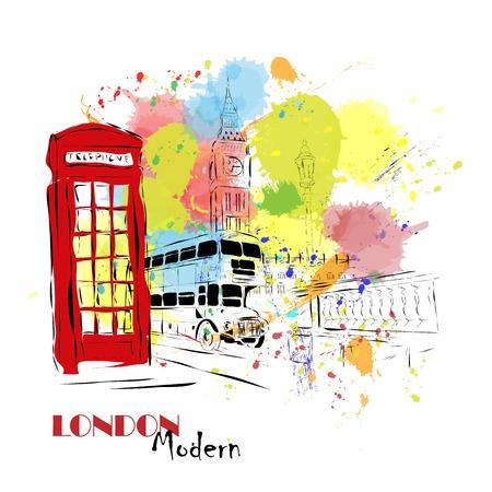 pencil drawn: European capital, sketch, London, modernist style, background, colors